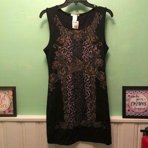 NWT Black Stretch Dress with Designs